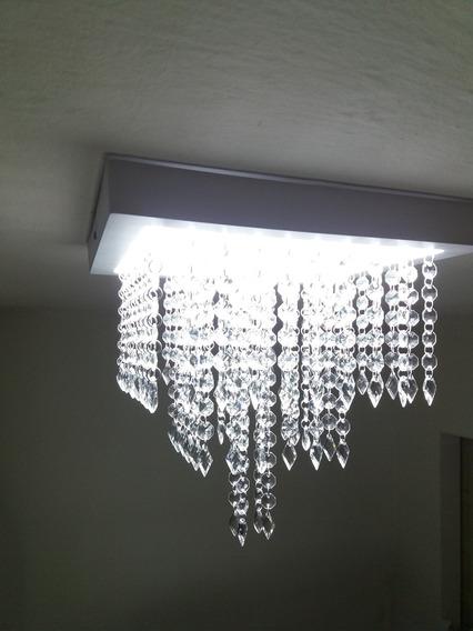 Luminária Lustre Cristal Acrílico Com Led Super Econômica.