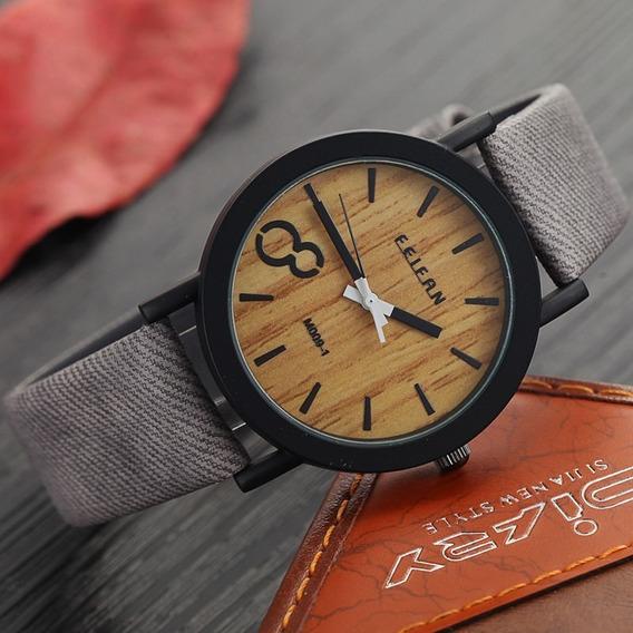 Relógios Masculinos De Couro E Pulseira De Cor De Madeira