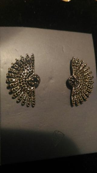Brinco Ear Cuff Leque Prata Com Ródio Nano Zircônia