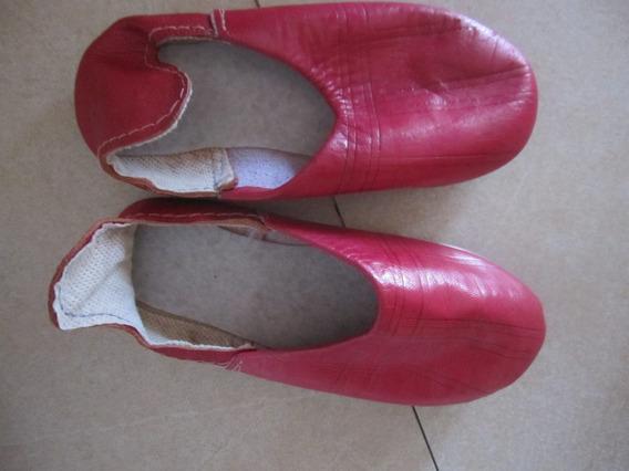 Pantuflas Rojas Tipo Cuero, Importadas Divina Plantilla 17cm