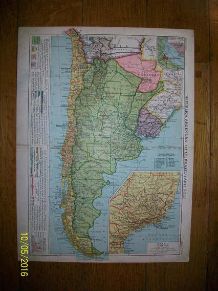 Mapa De Argentina, Chile Y Parte Sur Del Brasil