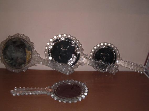 Espejos De Mano Tocador Antiguo De Vidrio