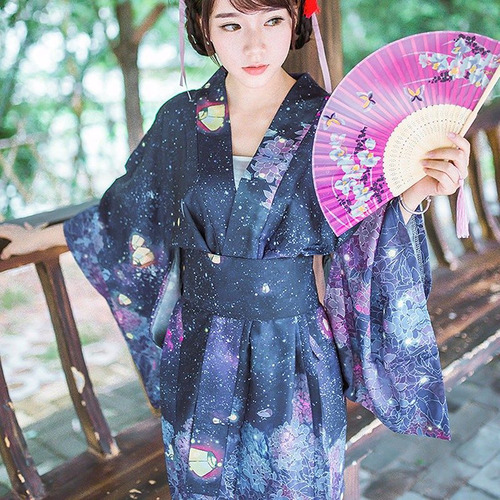 Kimono Japonés Yukata Floral Harajuku Outwear + Cinturon