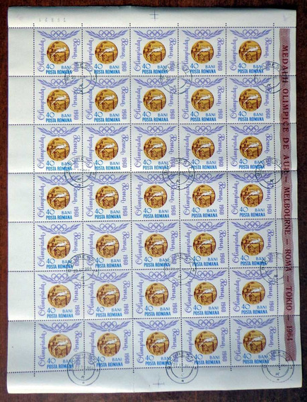 Rumania, Plancha Sc. 1694 Medalla Olímpica 64 Usada L7474