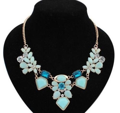 Lindo Collar Maxi Azul Y Celeste Importado En Stock Nuevo