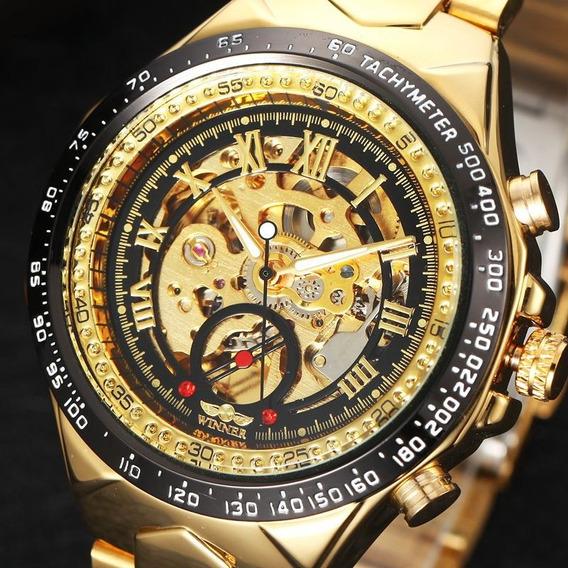 Relógio Masculino Esqueleto Ouro Dourado Luxo