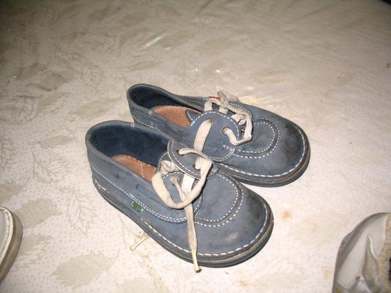 Zapatos Niño Gris Azulino Talle 26 Acordonado Impecables