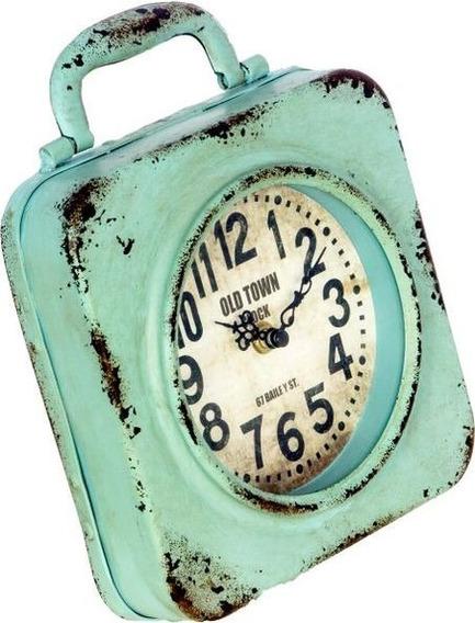 Relógio De Mesa Azul Em Ferro Oldway 24x20x5cm