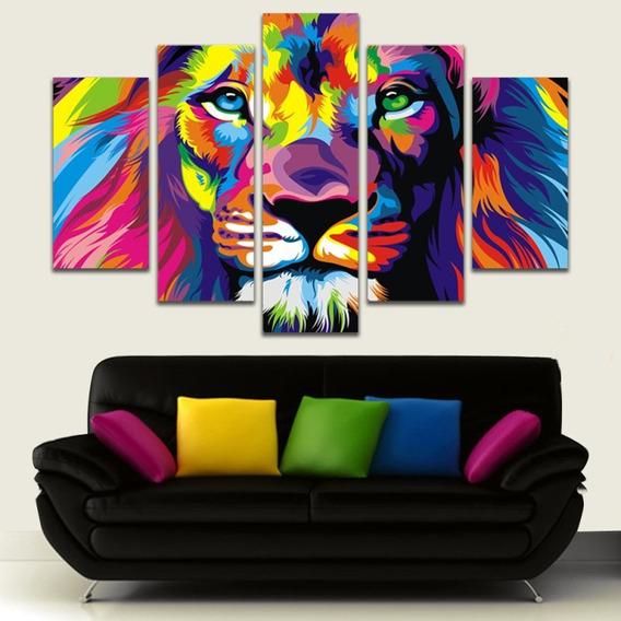 Nuevo! Cuadro Decorativo Sala Leon Color Listos Para Colgar