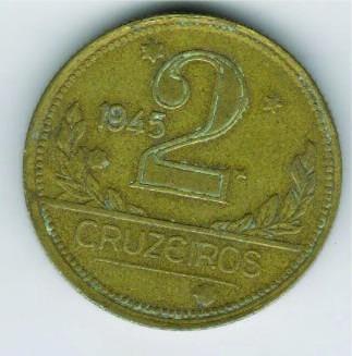 Moeda 2 Cruzeiros 1945 Ref. 241 - R$ 3,95 Cada