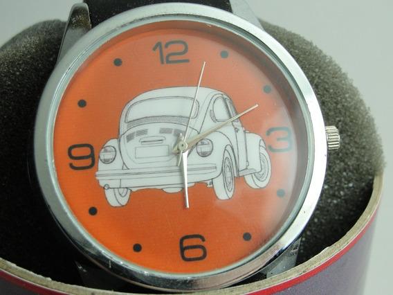 Relógio Fusca Fundo Laranja