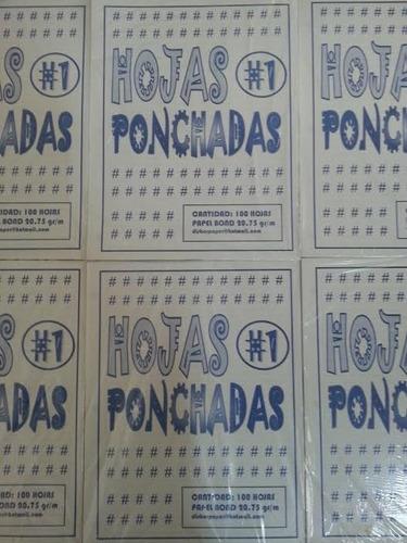 Hojas Ponchadas 3 Huecos A Rayas Pqt X 300