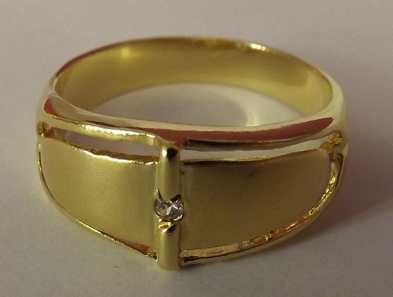 Anel Folhado Ouro Com Zirconea - 11210