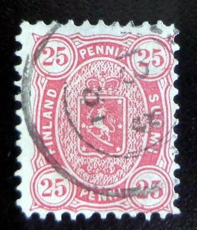 Finlandia, Sello Yv. 17a 25pf Rojo Dent 11 1875 Usado L9009