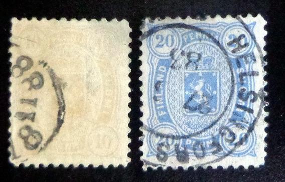 Finlandia, Lote 2 Sellos Yv 15-16 D 12 1-2 1875 Usados L9010