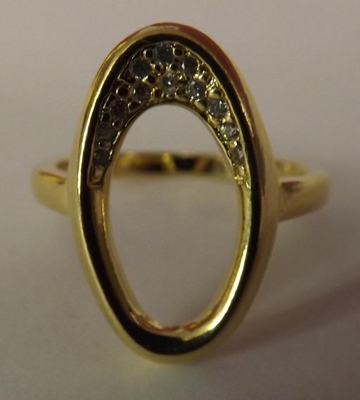 Anel Folhado Ouro Cravejado Com Zirconeas- 11743