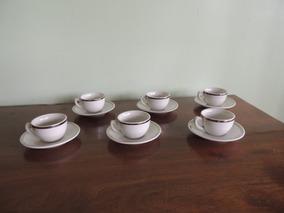 06 Xícaras De Café Em Porcelana São Paulo Com Filete Prata