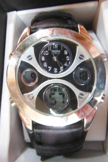 Elegante Reloj Mossimo Negro Y Plata Watch Silver Piel
