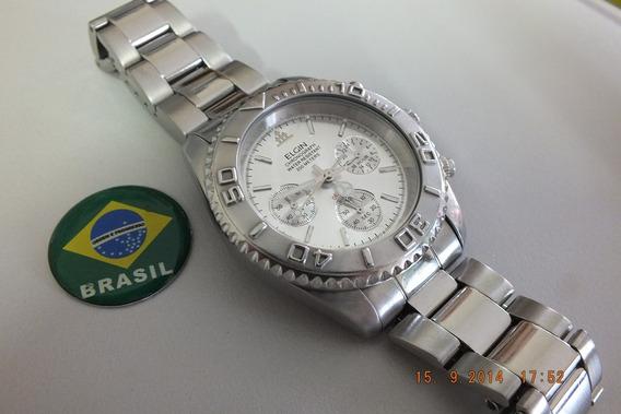 Relogio Masculino Elgin-cronometro-aço Inox-coroa Despanada