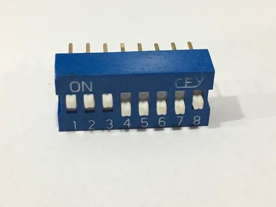 Chave Dip Switch 8 Vias 180° Azul - Kit Com 5 Peças