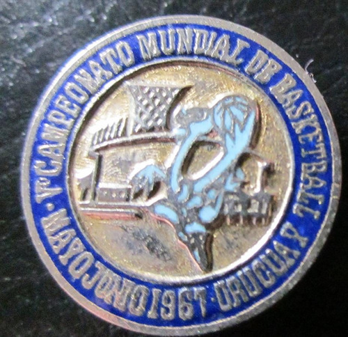 Imagen 1 de 3 de Antiguo Pin Campeonato Mundial De Basketball Uruguay