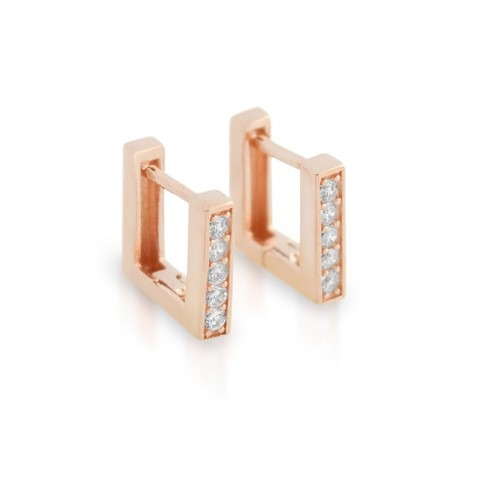 Rose Gold Plated 11mm Square Cz Huggie Earrings