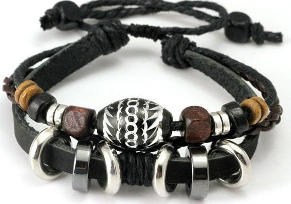 Pulseira Feminina Masculina Tribal Couro Legítimo Bracelete
