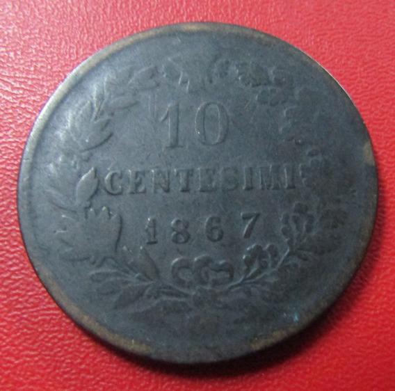 Italia Moneda Rey Vittorio Emanuelle Ii 10 Centimos F 1867
