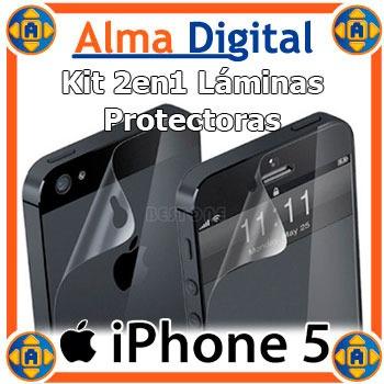 Kit 2 Laminas Protector Pantalla Y Anverso iPhone 5 5s Apple