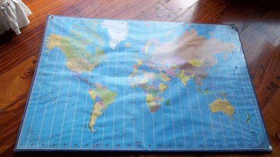 Mapa 40x59cm Husos Horarios Planisferio Mapamundi Scandecor