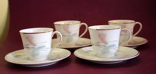 Antiguo Juego De Café Para 4 De Porcelana Limoges