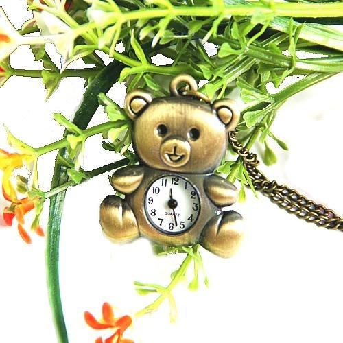 Relógio De Pescoço Ursinho Na Cor Bronze.