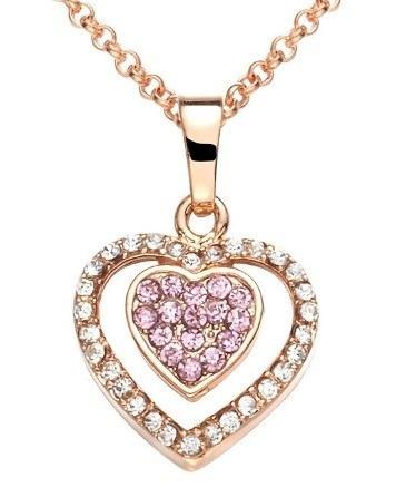 Collar Corazon Amor Swarovski Crystals Caja Regalo En Stock