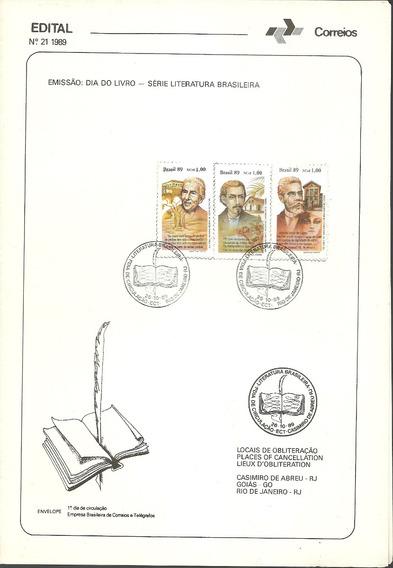 Edital Correios N.21 1989 Dia Do Livro - Serie Literatura Br