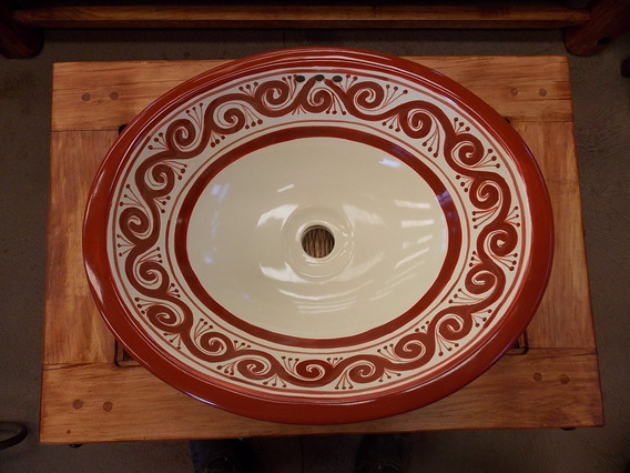 Lavabo Ovalin Artesanal De Talavera Fina Estilo Antiguo. T1