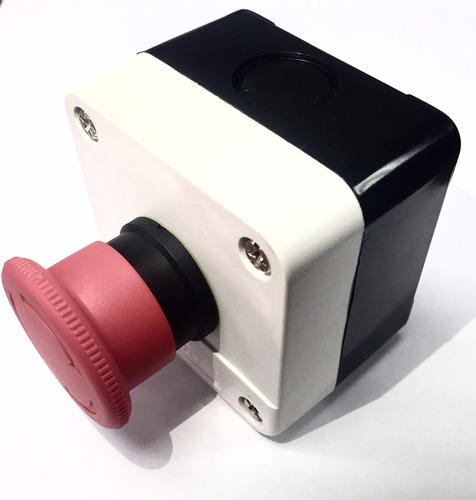 Pulsador De Emergencia Con Caja Hongo Con Retencion 22mm
