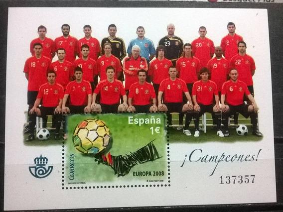 C@- España - Fútbol - Campeón De Europa - Hojita Block Mint