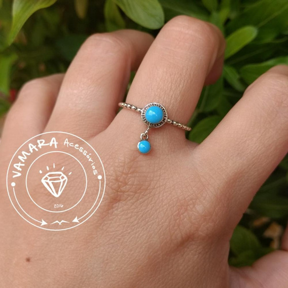 Anel De Prata 925 Pandora Pedra Azul Com Charm Aro 13