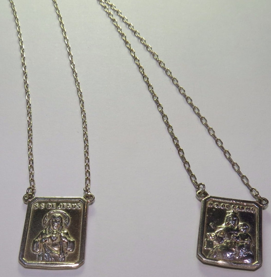 Escapulário Prata 925 Nossa Senhora Do Carmo E Jesus