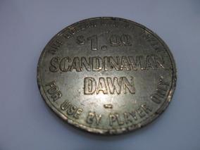 Ficha Antiga Do Cassino Do Navio Scandinavia Dawn Em Metal