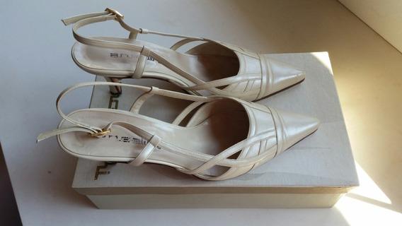 Zapatos Stilettos Cabretilla Crudos Perlados 37 Fiesta