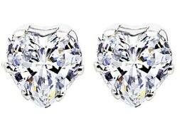 Imagen 1 de 6 de Aretes Corazon Princesa Reina Swarovski Crystals Nuevo Stock