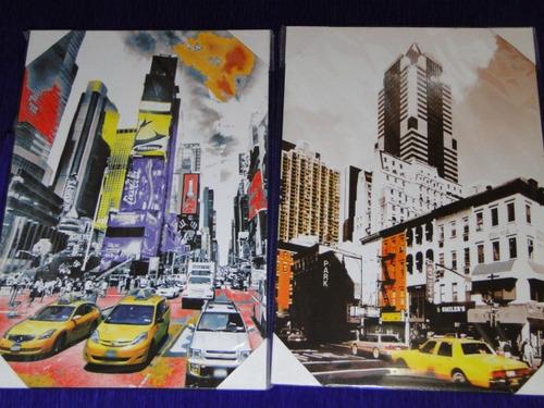 02 Quadros Juntos New York Time Square Taxi Amarelo Esquinas