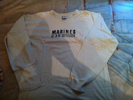 Camiseta Manga Longa Marines M Bege Ótimo Estado De Barbada!