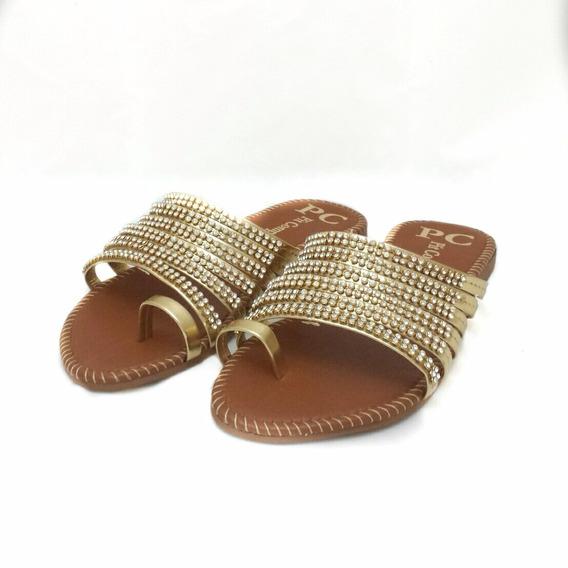 Sandália Rasteira Dourada Com Strass - Nº 34 - Cód: 0000100