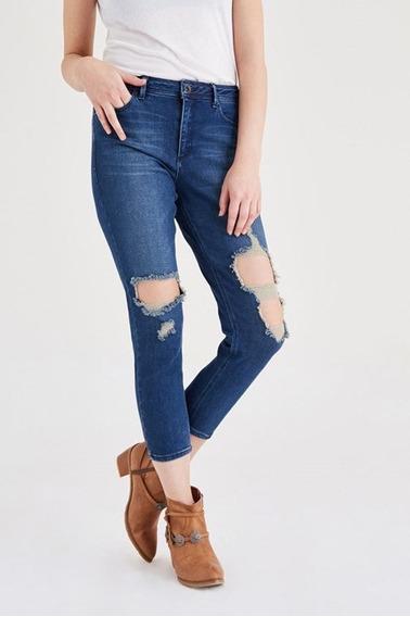 Calças (feminino) Blue Relax Fit Denim Pants