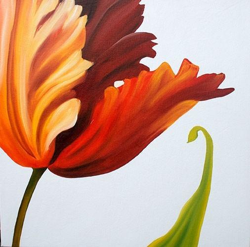 Quadro Pintura Óleo Tela Tulipa
