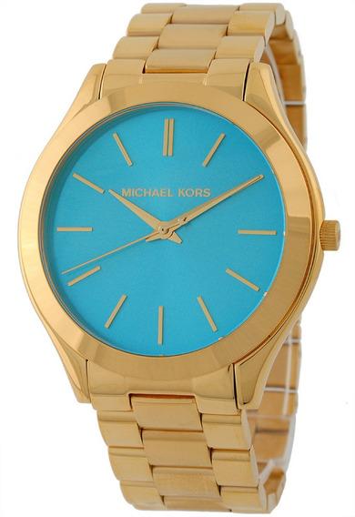 Relógio Michael Kors Mk3264 Orig Anal Gold Blue