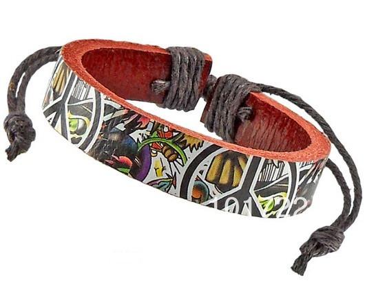 Pulseira Bracelete Moda Estilo Couro Legítimo Sticker Bomb
