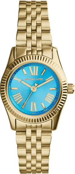 Relógio Luxo Michael Kors Mk3271 Orig Anal Azul Gold!!!
